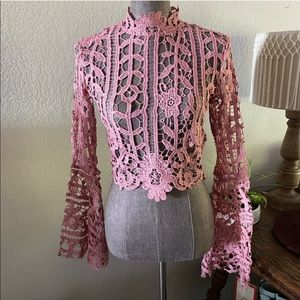 Mauve Lace Bell Sleeves Crop